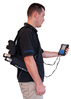 PCC-05IQ Probe Pouch permits hands free operation. PCC-AS1 Particulate meter is also shown.