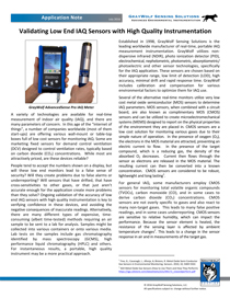 Validating Low End IAQ Sensors with High Quality Instrumentation