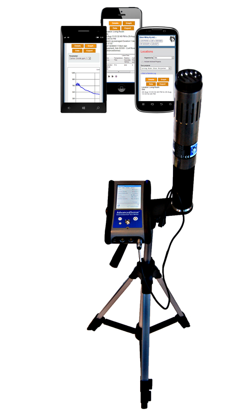 AdvancedSense HVAC/IAQ data logger with IQ-610 meter on tripod