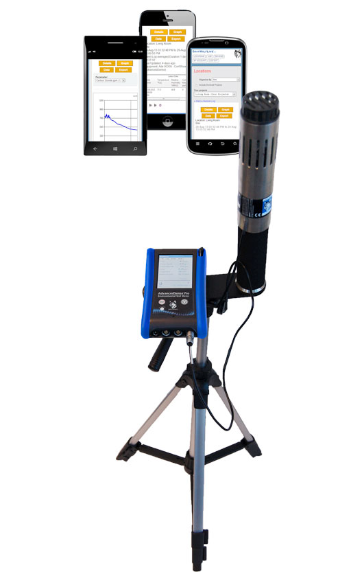 AdvancedSense Pro HVAC/IAQ data logger with IQ-610 meter on tripod