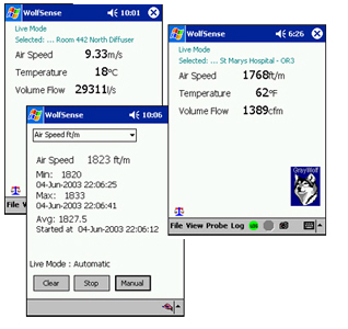 Pocket PC WolfSense Software Screens